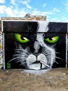 Smoking cat street art. ça va fumer..., le chat est fâché ! / Street art. / Rennes, France. / By Matt et Nico.