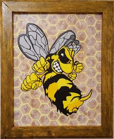"BUMBLEBEE  WOOD FRAMED PAINTING 11"" x 14"" free shipping"
