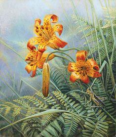 "| Tiger Lilies and Grasshopper"" copyright 2012 Stephen Lyman Estate ..."