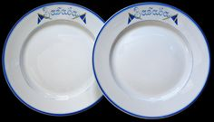 Extremely Rare Porcelain Plates from the Russian Imperial Yacht ZABAVA (or PLAY THING in Russian) ~  These dinner plates were made unusually heavy (weight - over 900 grams / over 2 pounds each) so they didn't slide on the table. The borders are inscribed in blue with the name of the yacht Забава (Play Thing) between two blue naval signal flags.The yacht ZABAVA was built in Finland in 1860 after the famous racing yacht AMERICA for uncle of Nikolay II, GD Alexei Alexandrovitch ~