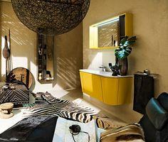 Camera de baie galbena, cu forme inspirate 2