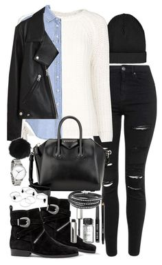 """""""Outfit with biker boots and a denim jacket"""" by ferned ❤ liked on Polyvore featuring Topshop, MANGO, AllSaints, Givenchy, Bobbi Brown Cosmetics, Acne Studios, women's clothing, women, female and woman"""