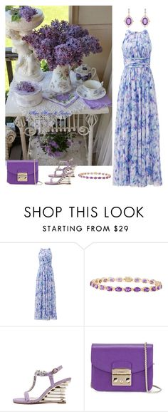 """""""Badgley Mischka Water Lilies Maxi Dress"""" by horcal ❤ liked on Polyvore featuring Badgley Mischka, Furla and Nigaam"""