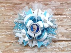 Stacked Boutique Bow Over the Top, Elsa the Snow Queen Inspired Hair Bow Pink, Blue and White