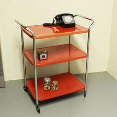 Vintage metal cart  serving cart  kitchen cart  red by moxiethrift