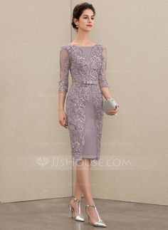 Sheath/Column Scoop Neck Knee-Length Satin Lace Mother of the Bride Dress With Beading Bow(s) Dress Brukat, Batik Dress, Party Dress, Mother Of Bride Outfits, Mother Of The Bride, Lace Dress With Sleeves, Groom Dress, Knee Length Dresses, Classy Dress