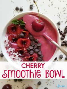 Love smoothies but hate feeling empty a short time later? Smoothie bowls like this Cherry Smoothie Bowl give you nutritional value AND keep you full longer. Raspberry Smoothie, Smoothie Bowl, Fruit Smoothies, Vegan Smoothies, Yummy Smoothie Recipes, Drink Recipes, Delicious Recipes, Yummy Food, Healthy Recipes