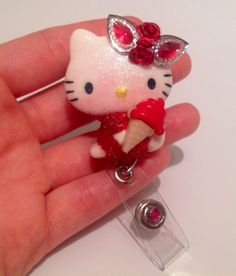 Baby Red Hello Casting Kitty Id Badge Retractable Reel Holder | evezbeadz.artfire.com $8