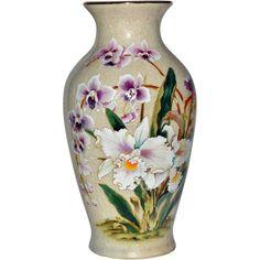 Vase White Orchid Porcelain Toyo Japan.