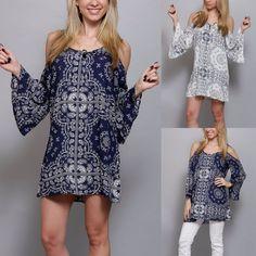 Boho Cold Shoulder BANDANA PAISLEY Print Bell Sleeve Dress Tunic Navy White S-1X #HighnessNYC #BellSleeveDress #SummerBeach
