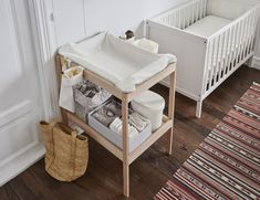 IKEA - SNIGLAR, Changing table, beech, white, Comfortable height for changing the baby. You can always keep a hand on your baby. Ikea Changing Table, Baby Changing Unit, Changing Table Organization, Baby Changing Station, Baby Closet Organization, Baby Boy Room Decor, Baby Room Design, Baby Bedroom, Baby Boy Rooms