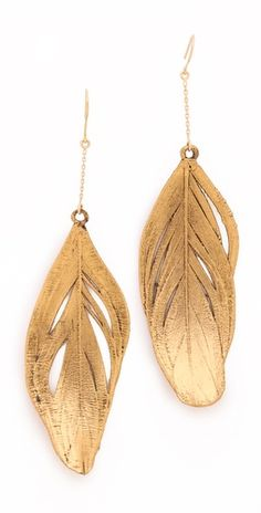 18k gold feather earrings. love!