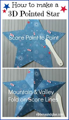 How to make a 3D pointed star  {ribbonsandglue.com}  #4thofjuly #redwhiteblue #pebblesinc #shilhouetteamerica #americana