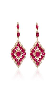Shop Ruby And Diamonds Earrings . Design with the modern woman in mind, **Sutra** features stunning pieces with romantic hues and silhouettes with precious stones. Mens Gold Jewelry, Ruby Jewelry, Stone Jewelry, Jewellery, Jewelry Box, Vintage Jewelry, Diamond Drop Earrings, Rose Gold Earrings, Women's Earrings