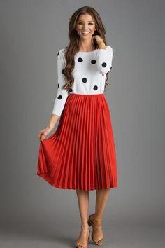 Kaylee Rust Pleated Midi Skirt