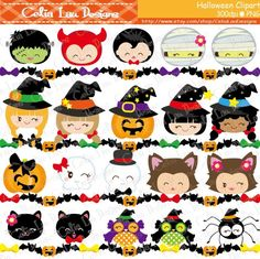 HALLOWEEN Clipart, Happy Halloween Smiley Face Digital Clipart, KAWAII Halloween Kid clip art/ Halloween border/ Instant Download (CG081) by CeliaLauDesigns on Etsy https://www.etsy.com/listing/202985012/halloween-clipart-happy-halloween-smiley