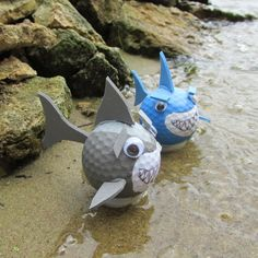 Here's a fun and easy craft for kids to recycle old golf balls! Turn them into cute sharks and you won't have to fear life and limb!