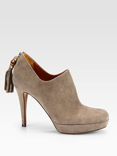 """Suede ankle boots with bamboo and tassel details at the heel. •Self-covered heel, 3½"""" (90mm)   •Platform, ¾"""" (20mm)   •Compares to a 2¾"""" heel (70mm)   •Shaft, 2""""   •Bamboo tassel detail   •Back zip   •Leather lining and sole   •Padded insole   •Made in Italy"""
