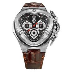 642-473 - Tonino Lamborghini 53mm Spyder Swiss Made Quartz Chronograph Leather Strap Watch