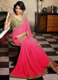 Pink Chiffon Saree w antique gold border ...same shade as blouse
