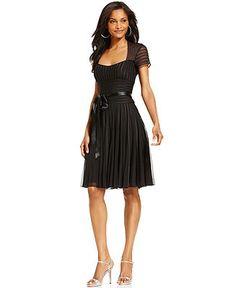 JS Collections Dress, Short Sleeve Satin Stripes Cocktail Dress - Dresses - Women - Macy's