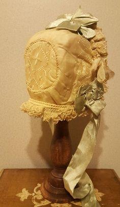"""Stunning Antique Ecru Silk & Lace Bebe Bonnet for 10-11"""" Head - Cherie's Petite Boutique #dollshopsunited"""