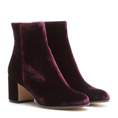 Gianvito Rossi - mytheresa.com exclusive Royal velvet ankle boots - Give your looks luxe status with these velvet ankle boots from Gianvito Rossi. They work as well with low-key leggings and sweaters as they do with dainty dresses and skirts. seen @ www.mytheresa.com