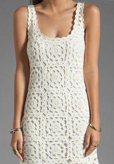 Вязаное летнее платье крючком: схема
