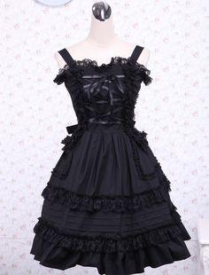 Black spaghetti Pintucks Cotton Classic Lolita Dress on www.ueelly.com