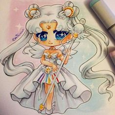 Chibi of Sailor Cosmos in a fancy dress I've wanted to draw her for quite some…
