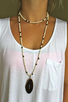 Cream and brown beaded necklace with black and brown by LINETWO