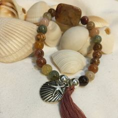 Ocean Agate Beaded Boho Beach Bracelet (8mm) with Jasper Focal Sterling Silver Beads Tassel and Silver Starfish Shell Charm by DreamCuff