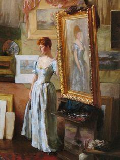 Fair Critics, detail (1887).  Charles Courtney Curran (American, 1861–1942).  Oil on canvas.
