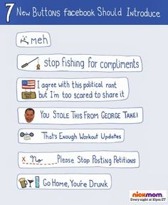 Facebook Humor | 7 New Buttons Facebook Should Introduce | From Funny Technology - Google+
