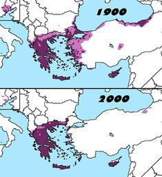 Distribution of Greeks in 1900 & 2000