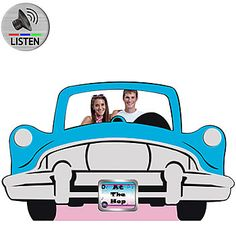 This Car Standee features a blue, silver and black car cut-out. Our Car Standee is a freestanding cardboard mural that measures 47 inches high x 74 inches long. Grease Themed Parties, 50s Theme Parties, Grease Party, Party Themes, Party Ideas, Party Kit, Fifties Party, Fifties Diner, 1960s Party