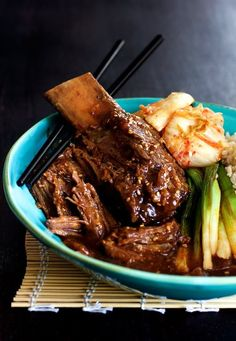 Korean Braised Beef Short Ribs by fromachefskitche (korean food plating) Rib Recipes, Slow Cooker Recipes, Paleo Recipes, Asian Recipes, Crockpot Ideas, Entree Recipes, Grilling Recipes, Gourmet Recipes, Yummy Recipes