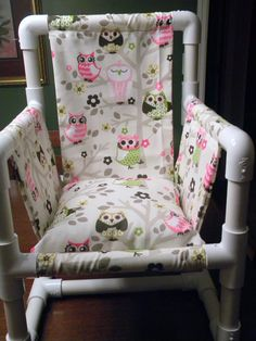 We made this Owl PVC Chair for our Granddaughter for her Birthday. It is so simple to make. I got the owl material at Hobby Lobby.