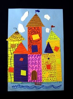 Castle collage - The Kindergarten class learned about texture in January and got to use it when they made their castle collages. They drew stones and bricks and shingles and waves using fine markers. They did such a nice job cutting out their shapes for the castles. could use this for 2D shapes