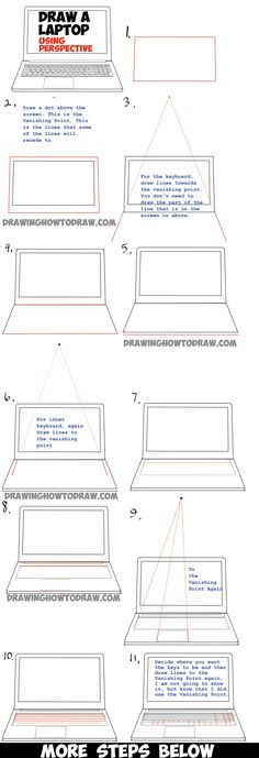 How to Draw a Computer Laptop Using One Point Perspective in Easy Steps Tutorial