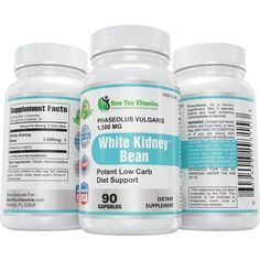 White Kidney Bean Extract 100% Pure 1,500mg Carb Blocker Low Carb Diet