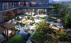 Terrace deck at The Cove Etobicoke Toronto. Toronto Condo, Condo Living, Outdoor Furniture Sets, Outdoor Decor, Condos For Sale, Looking Forward, Condominium, Deck, Construction