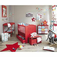 This airplane shaped kids' desk, has a playful design and it's perfect for an airplane room decor. Red Nursery, Nursery Themes, Nursery Room, Nursery Decor, Vintage Circus Nursery, Carnival Nursery, Baby Bedroom, Baby Boy Rooms, Kids Bedroom