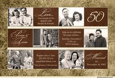 50th Anniversary Party Ideas On A Budget | Floral 50th Anniversary Card - Photo Party Invitation Golden-Brown