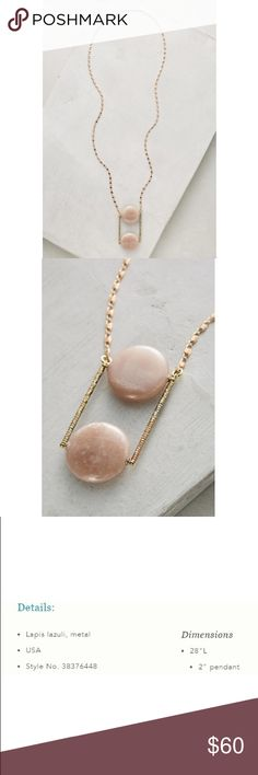 "Anthropologie Bimini Pendant Necklace NWT. Gorgeous Anthropologie Bimini Pendant Necklace in peach by Serafina.   Details:  ❤️Lapis lazuli, metal ❤️USA ❤️Style No. 38376448 ❤️28"" L ❤️2"" Pendant Anthropologie Jewelry Necklaces"