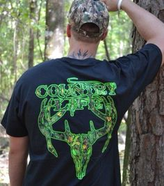 Scout the deer in style with the green camo skull tee from www.countrylifeoutfitters.com