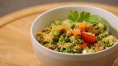 Quinoa met honingtomaatjes en erwtjes