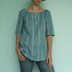 Simple Modern Sewing Raglan sleeve top, modified to be narrower, sleeves not gathered and faux placket in lieu of slit.