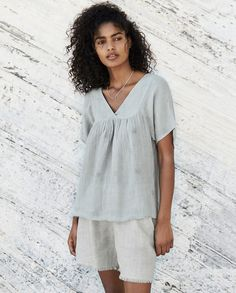Poetry - Crinkle linen top - A lovely, full and slightly swingy summer top in our crinkle linen with its over pattern of open-stitch squares. Gathered at the front and back with little side splits at the hem and short, raglan style sleeves. Nursing Pajamas, Linen Shorts, Raglan, Crinkles, Casual Looks, Cute Outfits, Tunic Tops, Style Inspiration, Clothes For Women