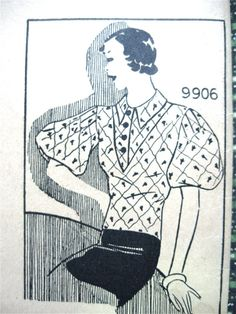 Vintage 1930s Marian Martin 9906 sewing pattern to by Fancywork, $30.00